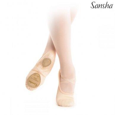 """Vaikiški baleto bateliai Sansha """"Perfect-Fit"""" su elastanu"""